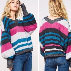 Striped Super Soft V Neck Balloon Sleeve Top